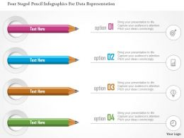 0115 Four Staged Pencil Infographics For Data Representation Powerpoint Template