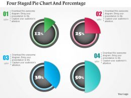 0115 Four Staged Pie Chart And Percentage Powerpoint Template