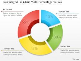 0115 Four Staged Pie Chart With Percentage Values Powerpoint Template