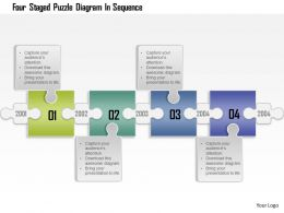 0115 Four Staged Puzzle Diagram In Sequence Powerpoint Template