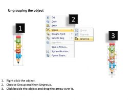 0115 Four Staged Puzzle Pencil Diagram For Text Representation PowerPoint Template