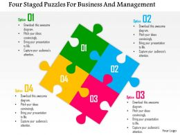 0115 Four Staged Puzzles For Business And Management Powerpoint Template