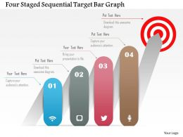 0115 Four Staged Sequential Target Bar Graph Powerpoint Template
