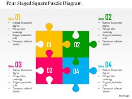 0115 Four Staged Square Puzzle Diagram Powerpoint Template