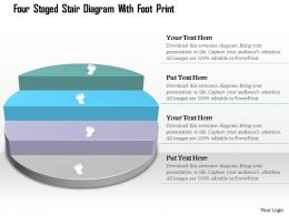 0115 Four Staged Stair Diagram With Foot Print Powerpoint Template