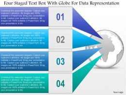 0115 Four Staged Text Box With Globe For Data Representation Powerpoint Template