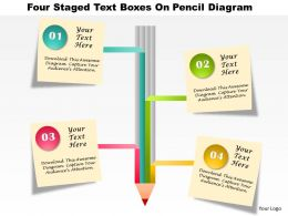 0115 Four Staged Text Boxes On Pencil Diagram PowerPoint Template