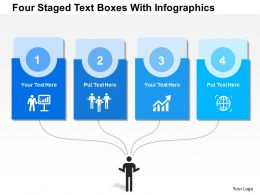 0115 Four Staged Text Boxes With Info Graphics Powerpoint Template