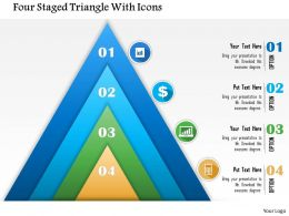 0115 Four Staged Triangle With Icons Powerpoint Template