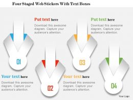 0115 Four Staged Web Stickers With Text Boxes Powerpoint Template