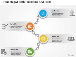 0115 Four Staged With Text Boxes And Icons Powerpoint Template