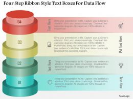 0115 Four Step Ribbon Style Text Boxes For Data Flow Powerpoint Template