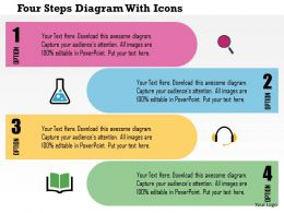 0115 Four Steps Diagram With Icons Powerpoint Template