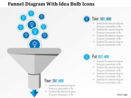 0115 Funnel Diagram With Idea Bulb Icons Powerpoint Template