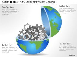0115 Gears Inside The Globe For Process Control Powerpoint Template