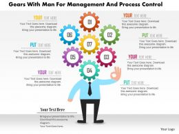 0115 Gears With Man For Management And Process Control Powerpoint Template
