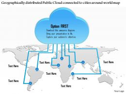 0115 Geographically Distributed Public Cloud Connected To Cities Around World Map Ppt Slide