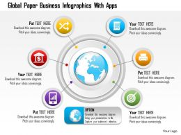 0115 Global Paper Business Infographics With Apps Powerpoint Template