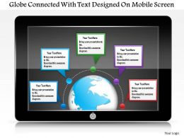 0115 Globe Connected With Text Designed On Mobile Screen Powerpoint Template