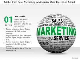 0115 Globe With Sales Marketing And Service Data Protection Cloud Image Graphic For Powerpoint