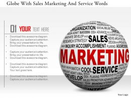 0115 Globe With Sales Marketing And Service Words Image Graphic For Powerpoint