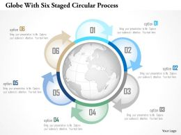 0115 Globe With Six Staged Circular Process Powerpoint Template