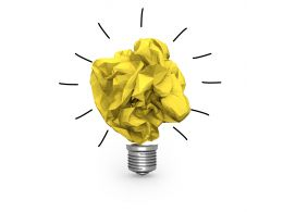 0115 Golden Paper Bulb Design For Idea Generation Stock Photo