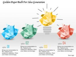 0115 Golden Paper Bulb For Idea Generation Powerpoint Template