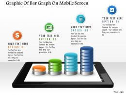 0115 Graphic Of Bar Graph On Mobile Screen Powerpoint Template
