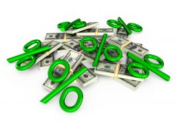 0115 Green Percentage Symbols On Dollars Stock Photo