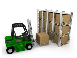 0115 Green Truck Lifting Cartons Stock Photo
