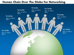 0115 Human Chain Over The Globe For Networking Powerpoint Template