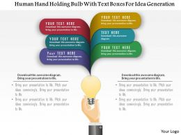 0115 Human Hand Holding Bulb With Text Boxes For Idea Generation Powerpoint Template