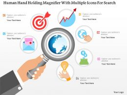 0115 Human Hand Holding Magnifier With Multiple Icons For Data Search Powerpoint Template