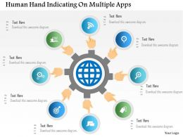 0115 Human Hand Indicating On Multiple Apps Powerpoint Template