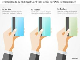 0115 Human Hand With Credit Card Text Boxes For Data Representation Powerpoint Template