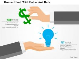 0115 Human Hand With Dollar And Bulb Powerpoint Template