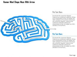 0115 Human Mind Shape Maze With Arrow Powerpoint Template