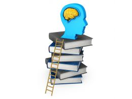 0115 Ladder For Success With Books And Human Mind Stock Photo