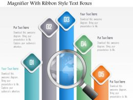 0115 Magnifier With Ribbon Style Text Boxes Powerpoint Template