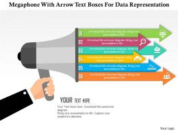 0115 Megaphone With Arrow Text Boxes For Data Representation Powerpoint Template