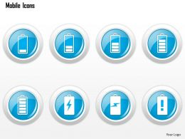 0115 Mobile Icons Showing Different Battery Strengths Ppt Slide