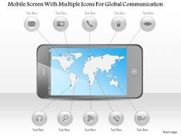 0115 Mobile Screen With Multiple Icons For Global Communication Powerpoint Template