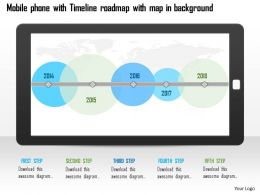 0115 Moblie Phone With Timeline Roadmap With Map In Background Ppt Slide