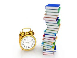 0115 Multiple Books And Alarm Clock Stock Photo
