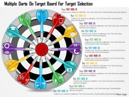 0115 Multiple Darts On Target Board For Target Selection PowerPoint Template