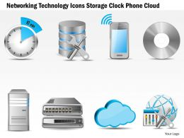 0115 Networking Technology Icons Storage Clock Phone Cloud Ppt Slide
