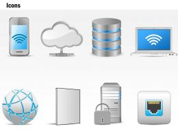 0115 Networking Technology Icons Storage Globe Wireless Laptop Ppt Slide