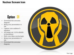 0115 Nuclear Scream Icon Showing Warning Frightened Frightening Person Ppt Slide