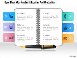 0115 Open Book With Pen For Education And Graduation Powerpoint Template